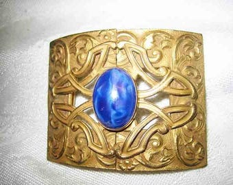 Ladies Antique Art Nouveau 1920s Lapis Belt Buckle Designer Signed