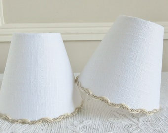 A lovely handmade white linen candle lampshade 11 x 13 cm / 4.3 x 5.1 ins for wall Light, sconce or ceiling chandelier