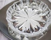 Glass Ashtray Set Ashtray and Tray Metal Tray Patterned Glass Trinket Dish Key Dish Trinket Tray Frosted Glass  1970s  1980s