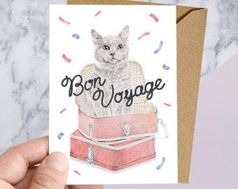 Bon Voyage, Farewell Greeting Card for World Adventurers