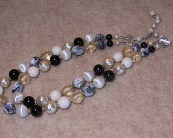 Vintage double strand beaded necklace, black, pearl, and marbled gray beads