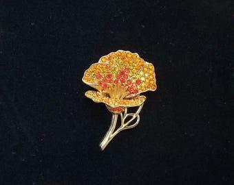 Orange rhinestone crystal floral pin