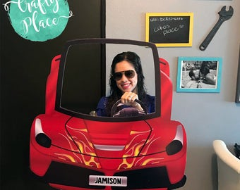 Hot wheels / race car cutout photo booth frame prop / Printed and ready to use / Personalized / Oversized frame