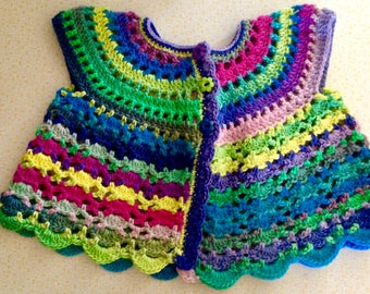 Crochet Baby Multi-colour Sleeveless Jacket/vest.  Fits 3 - 6 months