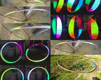 Psychedelic honeycomb reflective hula hoop of your choice, hdpe, polypro, pe, hula hoop hula Hoop Collapsible Travel with push pin buttons