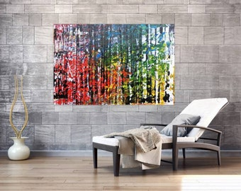 XXL abstract painting 100x150cm modern acrylic art on canvas and frame #494
