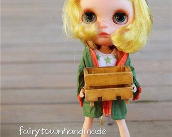 FairyTown Handmade  little 【green】dinosaur raincoat suit  for blythe