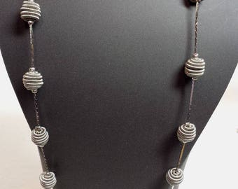 TRIFARI Silver Tone Coiled Ball Bead Necklace w Matching Earrings