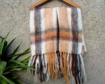 90s mohair wrap / scarf, big size plaid, fluffy fuzzy hairy 70% mohair wool mix by Royal Scot, brown, peach, cream white, Made in England