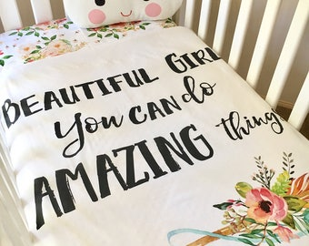 Baby Cot / Crib Quilt Blanket Floral Arrow Baby Girl