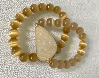 Druzy Bracelet Set - Druzy Bead Bracelet - Tigers Eye Bead Bracelet - Tigers Eye Bracelet Set - Druzy pendant - Chakra Bead Bracelets