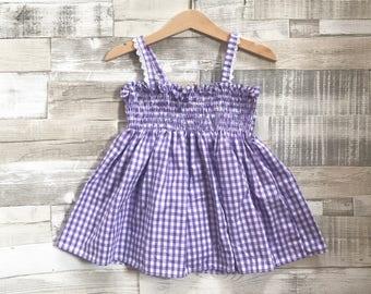Lilac Gingham Dress | Purple Gingham Dress | Smocked Baby Dress | Shirred Dress | Baby Gingham Dress | Lilac Gingham Baby Dress
