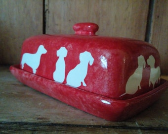 READY TO POST Stunning Sausage Dog Dacshund Design Butter Dish Various Colour Options Available