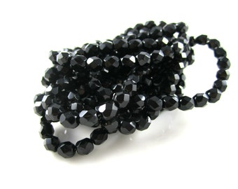 Black Czech Fire Polished Faceted Beads Black Czech Round Beads Black Faceted Beads Black Fire Polished Beads 6mm (25pcs) 281V3