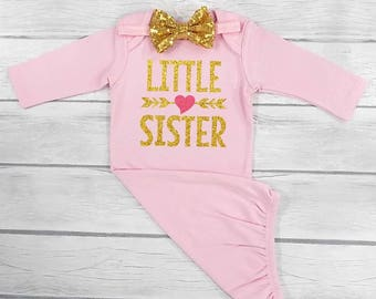 little sister outfit little sister gown baby girl gown baby girl coming home outfit little sister coming home outfit newborn gown sleep sack