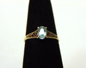 Women's Vintage Estate 10K Yellow Gold Ring w/ Light Azore Stone, 1.4g E2880