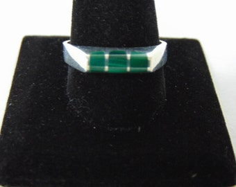 Mens Sterling Silver Ring w/ Malachite 7.2g E901