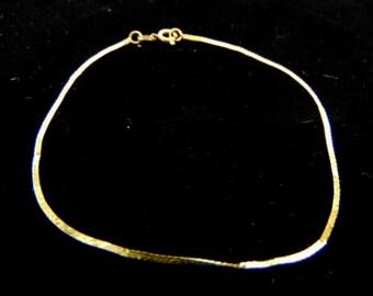 Women's Vintage Estate 14K Yellow Gold Herringbone Bracelet 0.5g #E935