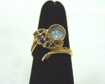Womens Vintage Estate 14K Yellow Gold w/ Blue Sapphire & Stone 3.8g #E2973