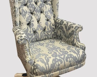 Tufted Wingback Upholstered Desk Chair Custom Furniture, Office Chair Swivel Chair, Accent Chair, French Country Style, Custom Made to Order