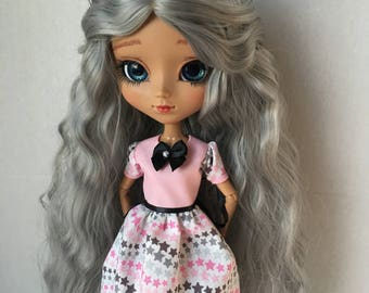 Pink and gray star themed Pullip doll dress