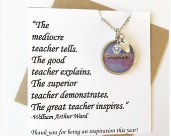 Inspire - Unique Teacher Gift Bezel Necklace with Charms