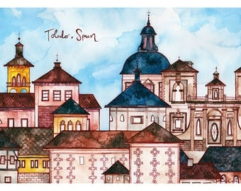 TOLEDO SPAIN Print 11X14 Ink and Watercolor Painting