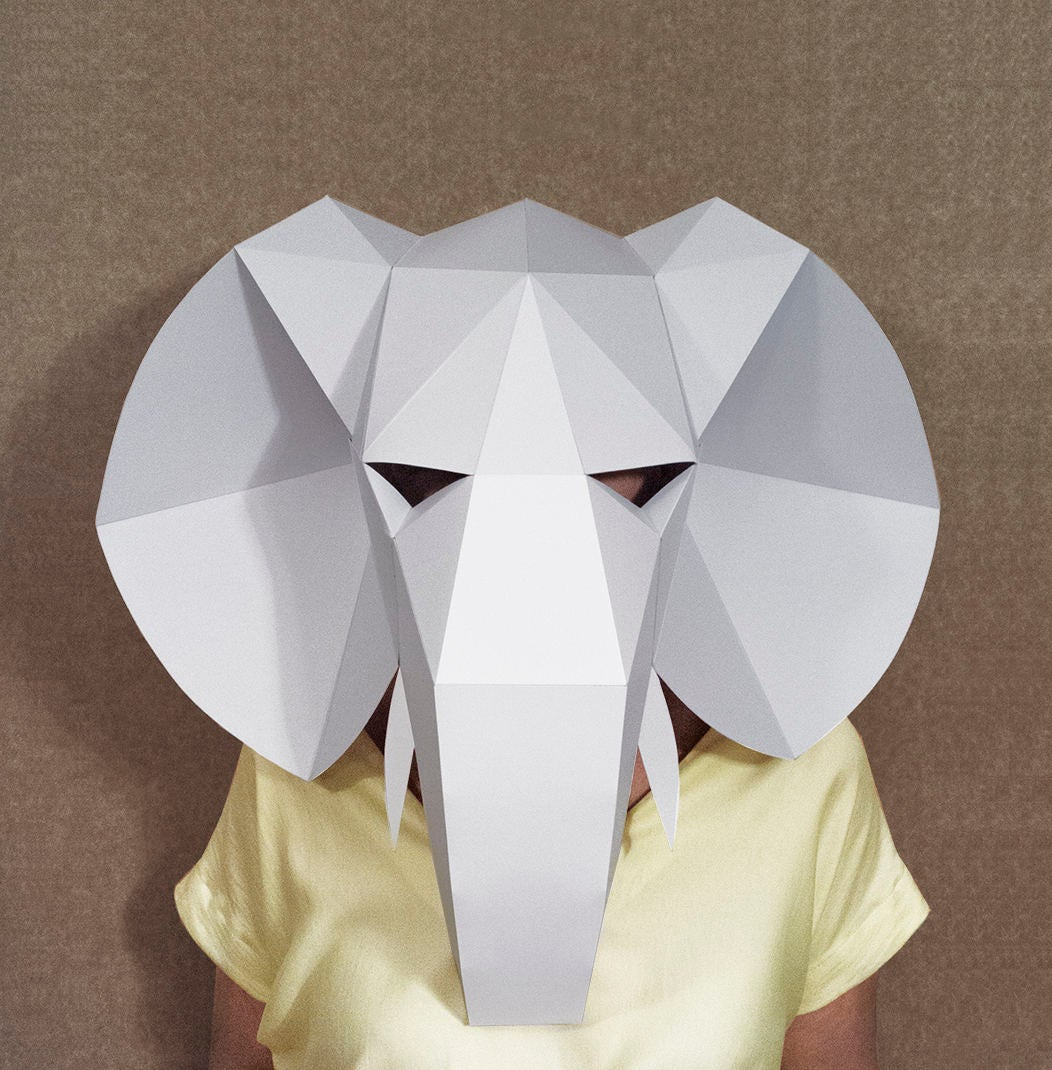 Elephant head mask diy paper creation pdf pattern printable for Paper crafts for adults
