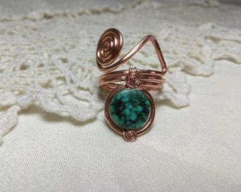 African Turquoise Copper Ring Size 10.5