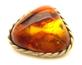 Amber Baltic Brooch Vintage Genuine 5.97 Gr Dark Honey Cognac German Silver