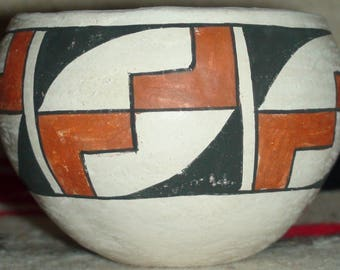 Native American Acoma Pueblo Pottery Vase Olla 3 1/4 X 4 Inches Signed