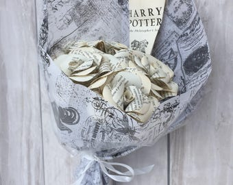 Harry Potter book page paper roses, bunch of 5 roses, recycled book roses, literature roses, wedding flowers, new home gift