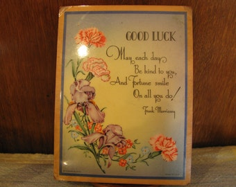 Vintage Small Good Luck Wooden Plague
