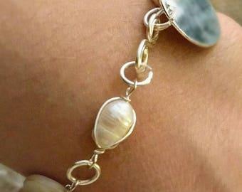 Beaded Silver Wire Seashell Pearl Custom Stamped Bracelet