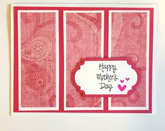 Mother's Day Card, Floral Mother's Day Card, Pink Mother's Day Card, Happy Mother's Day, Gift For Mom, Pink Hearts Card