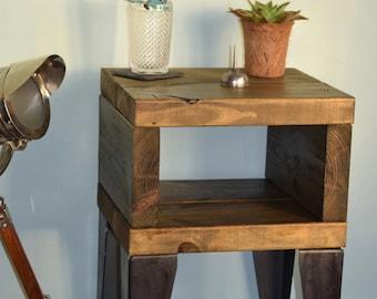 Rustic Handmade Industrial Bedside Tables Pair
