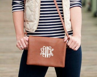 MONOGRAM CROSSBODY Purse, Monogrammed Crossbody, Cross Body Purse, Handsfree bag, Zipper Closure, Monogrammed bag, Brown purse, Personalized