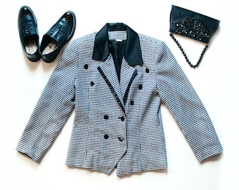 Houndstooth Jacket | Vintage Jacket | Black and Grey Blazer | Preppy Jacket | Checkered Blazer | Vintage Blazer - Size M L Medium Large