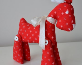 small Reindeer doll, Christmas gift, Christmas stuffed reindeer, with red fabric