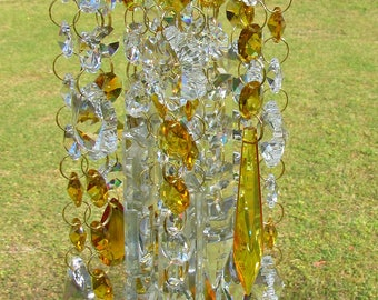 Crystal Wind Chime, Crystal Sun Catcher, Glass Wind Chime, Garden Décor, House Warming Gift, Wind Chime,  Amber Crystal, WC 143