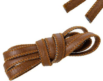 50 cm of leather cord have flat Brown 8.8 mm