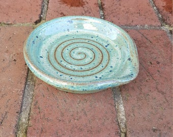 Stoneware Pottery Spoon Rest Wheel Thrown Green Glaze on Dark Brown Clay Handmade