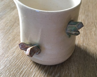 Small white pitcher with crystals - ceramic handmade