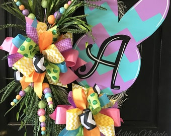 Pastel Bunny Easter Wreath, Door Decoration,  Easter Wreath, Monogram Wreath