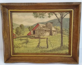 """Wood Framed Lithograph Print """"Dover Valley"""" by Gene Pelham"""