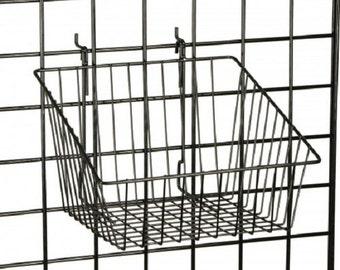"12"" x 12"" Metal Gridwall Slatwall Basket w/ Hooks - Black"