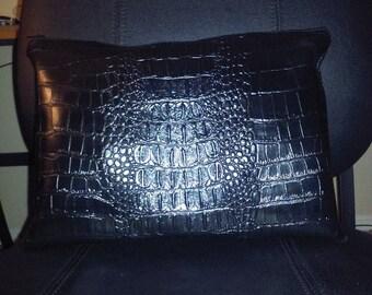 Black Croc Louine Clutch