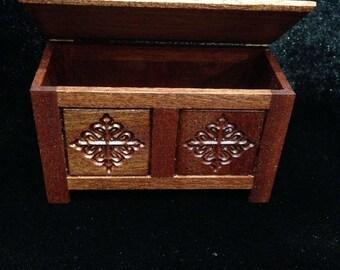 Dolls House 1/12th  Tudor Blanket Box. Mahogany. Handmade