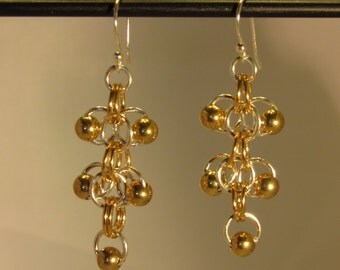 Roose with Gold Balls Earrings