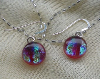 Deep Red Dichroic Dangle Earrings. Fused Glass Earrings. Glass Dangle Earrings. Glass Drop Earrings